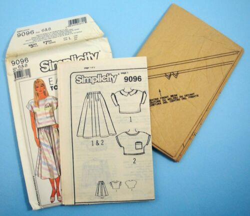 Simplicity 9096 Easy to Sew 2 Piece Dress Skirt and Top sizes 6 /& 8 or 10,12,14