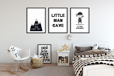 Set Of 3 Boys Bedroom Prints Little Man Cave Black White Kids Wall Art F Ebay