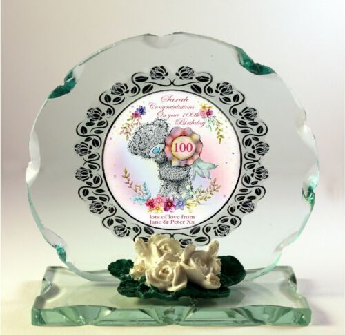 100th Anniversaire Cadeau Personnalisé Cristal Verre Taillé Rond Plaque pour son