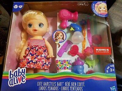 Baby Alive Cute Hairstyles Blonde Hair Girl Sealed In Box Kohl S Exclusive 630509577651 Ebay