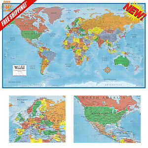 World map classic huge large paper wall map 24x36 poster home office world map classic huge large paper wall map gumiabroncs Choice Image