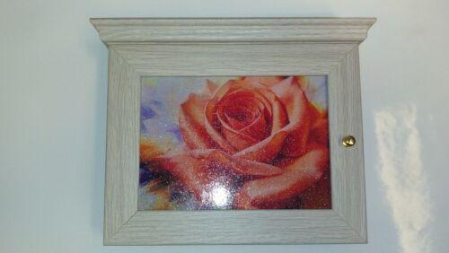 Schlüsselbox Schlüsselkasten Blume Kitsch Schlüsselschrank rote Rose Retro