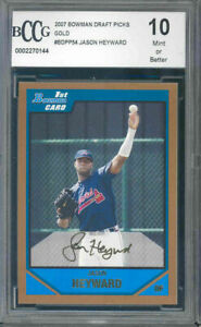 2007 bowman draft picks gold #bdpp54 JASON HEYWARD rc rookie BGS BCCG 10