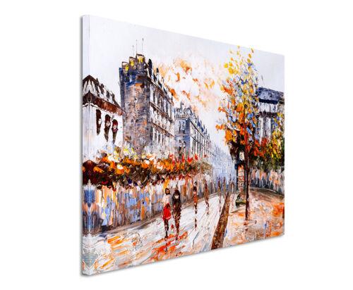 Wandbild Duplikat Druck Straßenszene in Paris auf Leinwand Farbenfroh