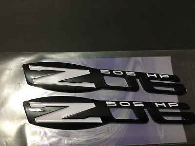 Z06 505 HP EMBLEM GLOSS BLACK YELLOW ZO6 BADGE DECAL 2PCS