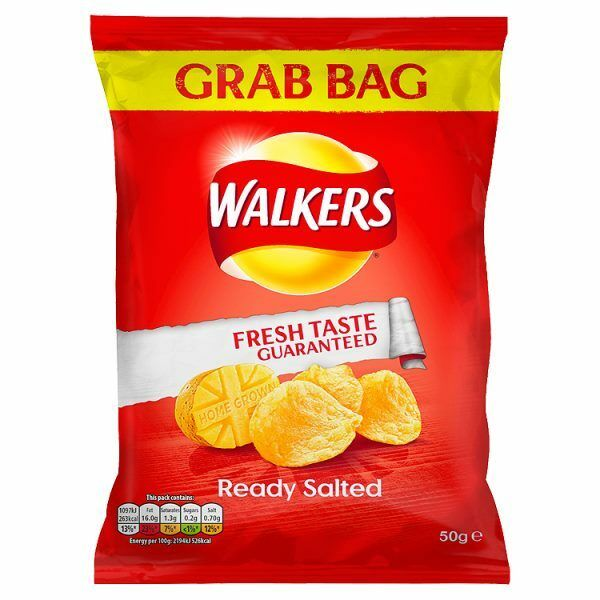 WALKERS CRISPS READY SALTED 50g x 32 CRISP pack bags perfect for home office