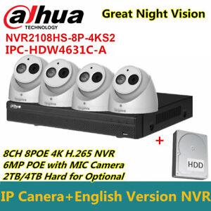 Dahua CCTV KIT 8CH NVR2108HS-8P-4KS2+IPC-HDW4631C-A 6MP IP POE IR Camera+2/4TBHD