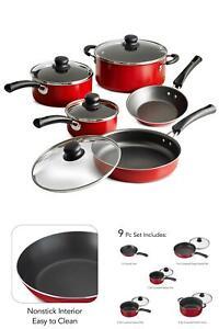 9-piezas-utensilios-de-cocina-de-cocina-Ollas-Sartenes-Antiadherente-Cocina-Hogar-Aluminio-Rojo