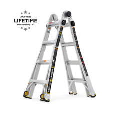 18 Ft Reach Mpxw Aluminum Multi Position Ladder With Wheels 375 Lb Load Capac