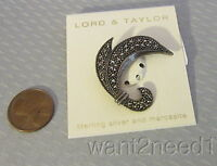 Lord & Taylor Sterling Silver & Marcasite Pin Swirl Brooch 925 On Card