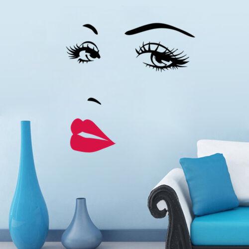 Wandtattoo Kuss Mund rot schwarz Wohnzimmer Schlafzimmer Küche Auge Frau Mädchen