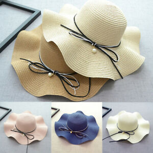 7bf14040 Ladies Outdoor Travel Caps Straw Bow Pearl Wide Brim Summer Beach ...