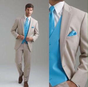 Custom Made Groom Tuxedos Notch Lapel Best Man Suit Groomsman Men