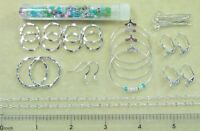 Assorted Silver Earring Findings Lot Open Closed Hoops Link Chain Bead Findings