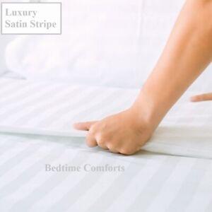"300TC SATIN STRIPE FITTED SHEET EURO IKEA SIZE 63/"" X 78/"" White Hotel Quality"