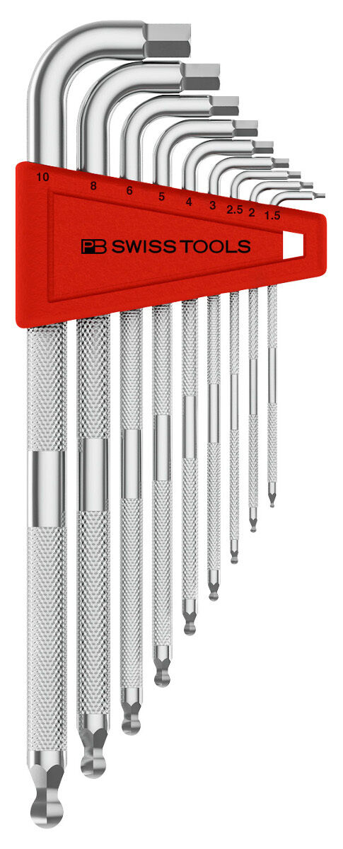 PB Swiss Tools PB 3212.LH-10 Hex Key Set with Knurled Grip Ballpoint Metric Long