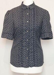 LAURA-Azul-Marino-Floral-Algodon-Bordado-boton-ASHLEY-Frente-Camisa-Blusa-Prenda-para-el-torso-Talla