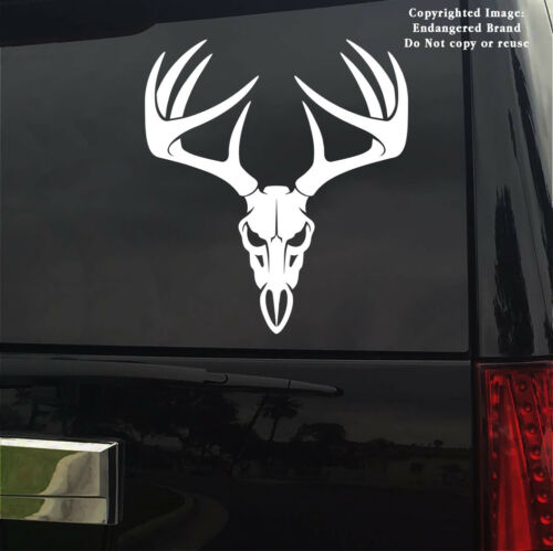 Deer skull hug Antlers horns whitetail mule rifle bow hunting decal sticker