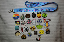 Disney trading 25 pin lot + Stitch LANYARD Hidden Mickey Donald Star Wars Tsum