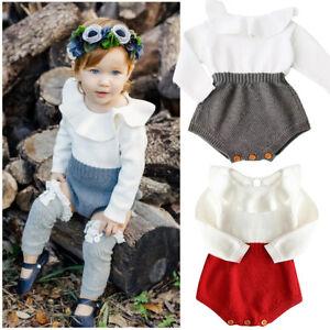 f25790d18e0 Warm Knit Newborn Baby Girls Long Sleeve Bodysuit Romper Jumpsuit ...