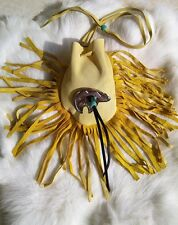 Native American Medicine Bag Leather Pouch Spirit Bear Pendant Beads Cherokee