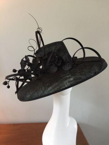 Wedding Ladies Hat Funeral Event Modern Ascot 55cm Fascinator Black wqZZ1I