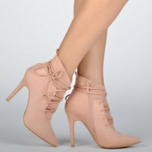 UK-Womens-High-Heel-Ankle-Boots-Ladies-Lace-Up-Stilettos-Calf-Booties-Shoes-Size