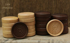 24 Stackable Wood Checkers ~ Game Pieces ~ 12 Natural & 12 Stained ~ FREE SHIP