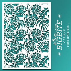 Image Is Loading Shabby Chic STENCIL Wild Roses Floral Pattern Furniture