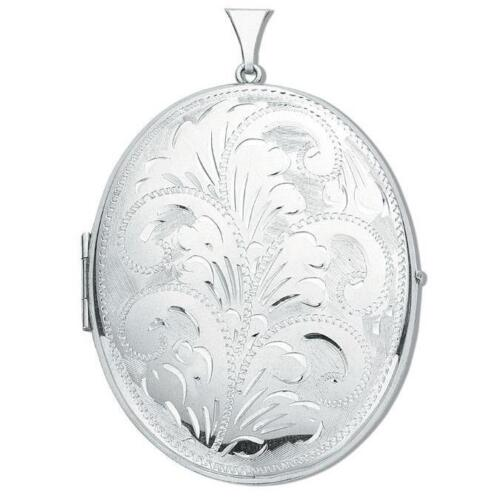 Large Sterling Silver 2 Photo Oval Shaped Engraved Locket 4 x 5cm Hallmarked