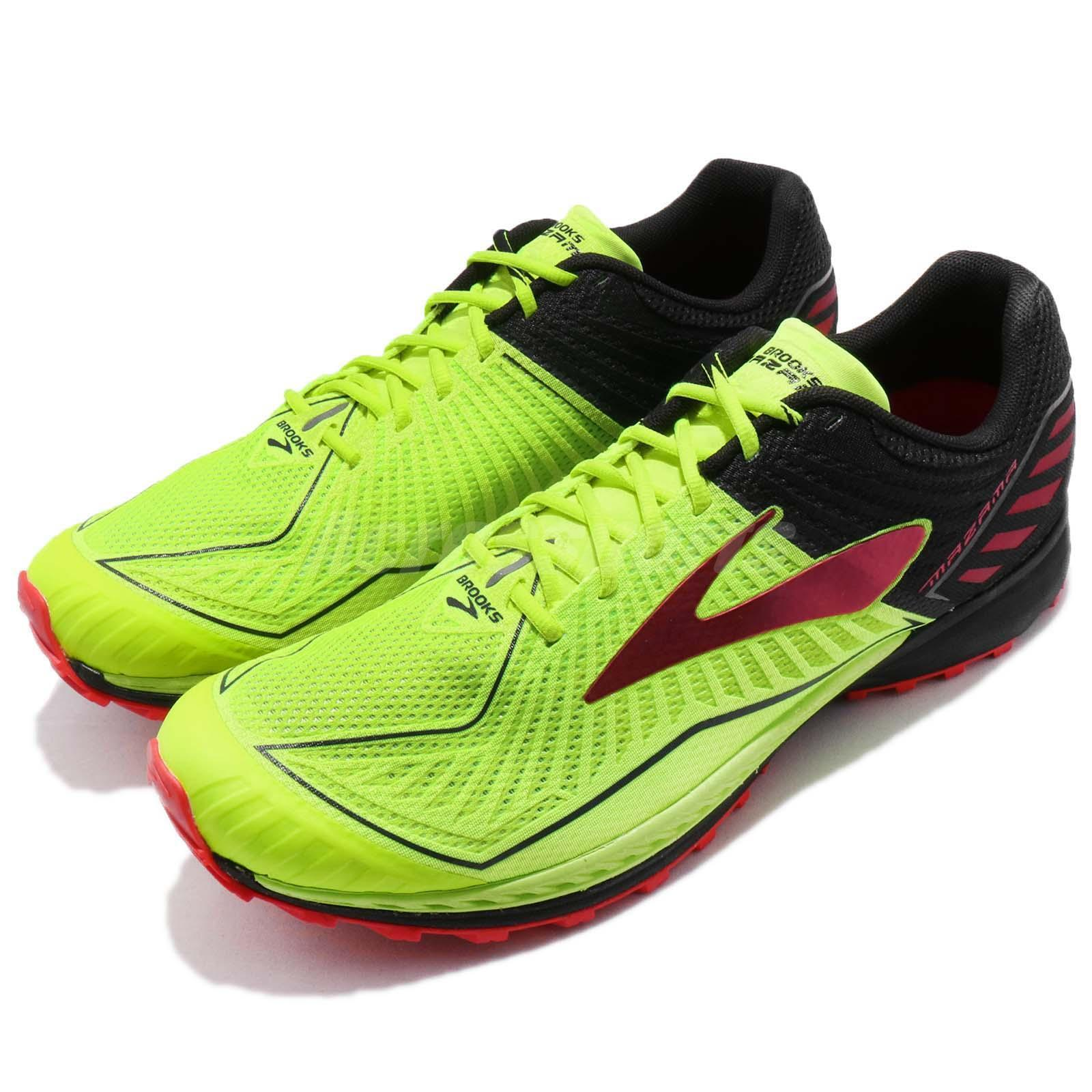 hot sale online c78fb 5c408 Brooks Mazama D Volt Black Red Red Red Trail Running Shoes Sneakers 1102351  D 86531c