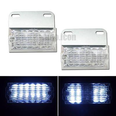 2pcs White Pickup Truck Trailer LED Side Marker Lights Warning Driving Lamps
