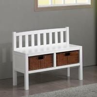 - Hf4you Hallway Storage Bench - White/walnut/black Finish Available
