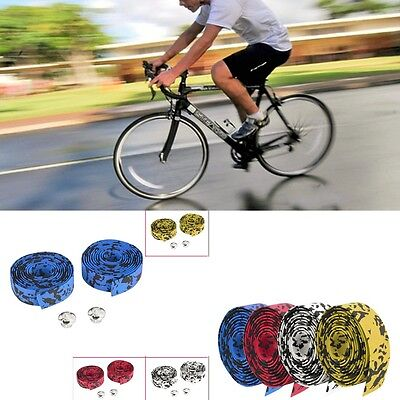 2 Bar Plugs Black Road Bike Cycling Bicycle Cork Carbon Handlebar Wrap Tape
