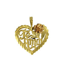 14K Solid 2 Tone Yellow Rose Gold Te Amo Heart Rose Small Charm Pendant
