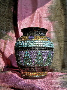 Mosaic Vase Unique Artist S Work Blue Green Gold