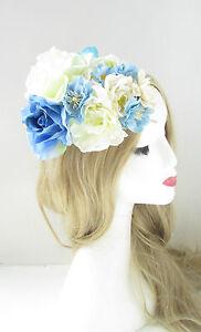 Light Blue Cream Ivory White Flower Fascinator Headpiece Races Wedding Floral 72