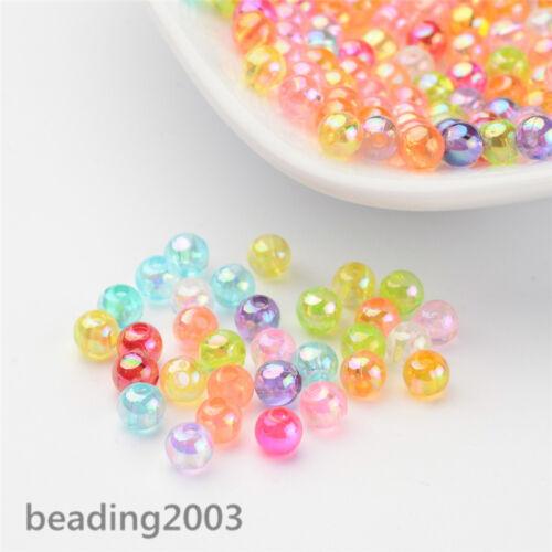 200 un Plástico Transparente Acrílico Cuentas AB Color de Joyería Redonda Colores mezclados 4mm