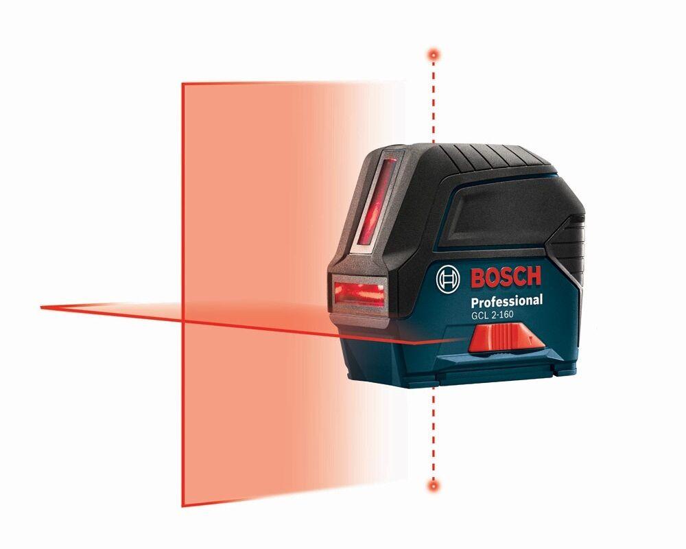 Bosch GCL 2-160 Cross-line Laser w  hard case & Magnetic redating Mount
