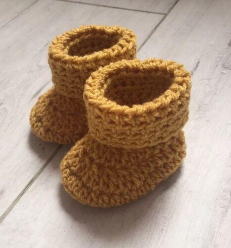 Handmade Crocheted//Knitted Baby Boy//Girls Cuffed Booties 0-3 /& 3-6 /& 6-9 Mustard