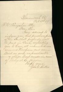 1984 Shenandoah Pennsylvania (PA) Letter F. G. Farquhan Margret E. Higgins Jas.