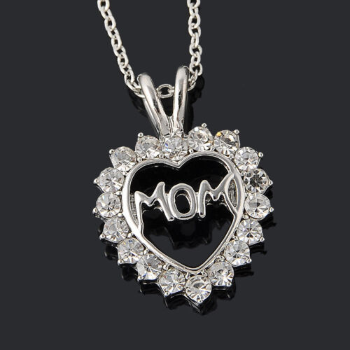 """Attractive /""""Mom/"""" Charm Silver Crystal Heart Pendant Necklaces Love Mother/'s Day"""