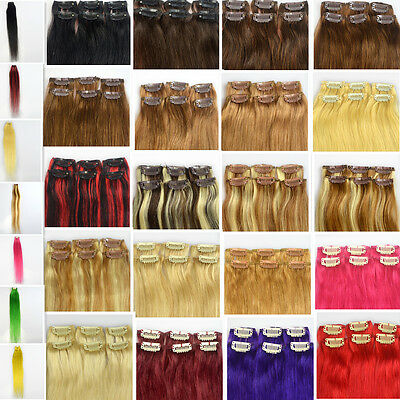 """Straight 20""""Long 6pcs Remy Real Clip In Hair Extensions 100% Human Hair,30g&12""""W"""