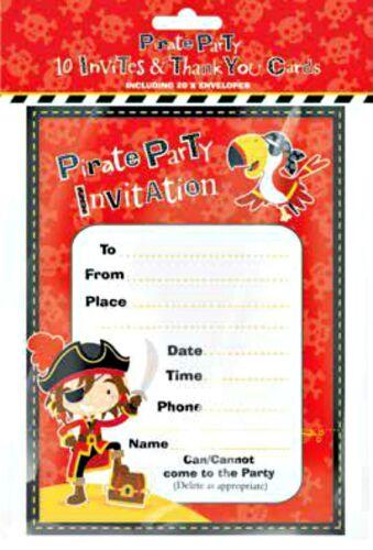 20 Fête Invitations THANK YOU Cartes Pirate Crochet Enveloppes Anniversaire Enfants Garçon