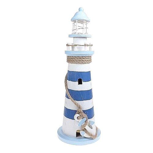 Grand Bleu & Blanc DEL Phare Coastal Design Home Decor 40 cm
