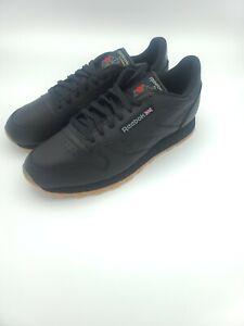 reebok classic leather black gum sole casual mens shoes