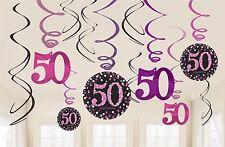 Pink Celebration 50th Birthday Hanging Swirl Decorations