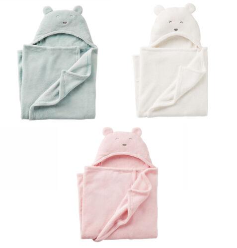 Blue Pink White Carter/'s Bear Baby Hooded Sherpa Blanket