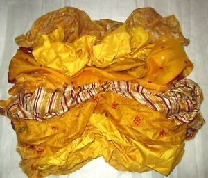LOT-PURE-SILK-Antique-Vintage-Sari-REMNANT-Fabrics-100-GRAMS-CRAFT-DOLL-QUILT-13