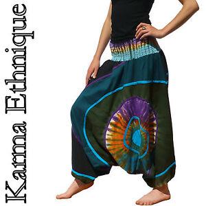 SAROUEL-HIVER-Tie-Dye-Nepal-COTON-36-38-40-42-44-46-48-50-grande-taille-N-Bleu